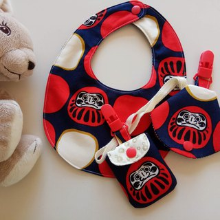 Red Fortune Dharma Moon Gift Baby Bib + Peace Symbol Bag + Pacifier Boot Set
