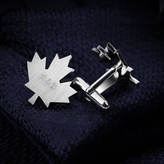Maple Leaf Cufflinks personalized - Engraved Cufflinks for groom