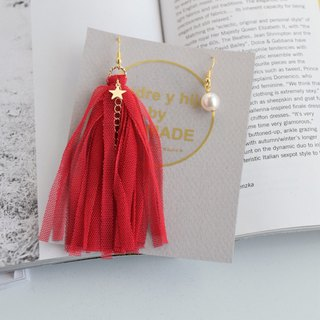 tulle fringe hook earrings asymmetry red or black