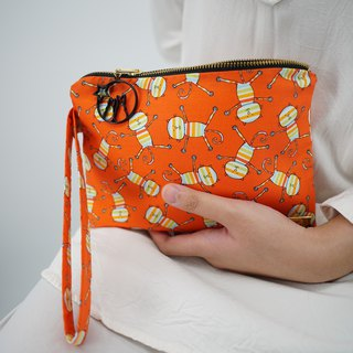 Wristlet in Rainbow Cats on Orange