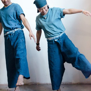 Do not forget | 靛 blue natural plant blue dyed linen casual trousers wide pants wide leg pants lace pants