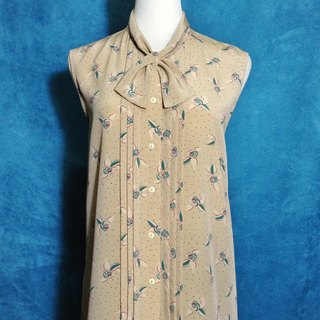 Ping pong ancient [ancient shirt / bow tie little rose sleeveless shirt] foreign bring back VINTAGE