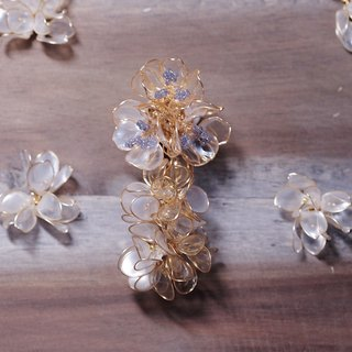 Hanakin Flower Gold Flamenco Platinum Handmade Jewelry Earrings Single