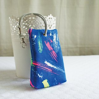 Lovely [Japanese cloth] color brush three-dimensional tea bag zipper key bag, ID card available, blue