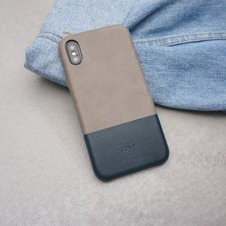 iPhone X Dual Color Leather Phone Case - Gray / Navy / No Card /
