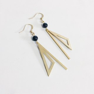 Geometric Triangle Law :: Black Onyx Earrings Clamp - Earrings / Pair / Brass Earrings / Retro Fashion / Birthday Gifts / Earrings Custom Design