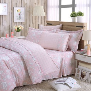 Increase the size of the flower language (powder) - Tencel dual-use bed cover six-piece group [100% Lysell]