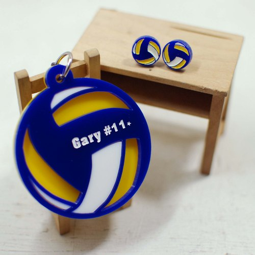 Volleyball keychain Volleyball Earrings + / yellow blue style / engraved name / Day