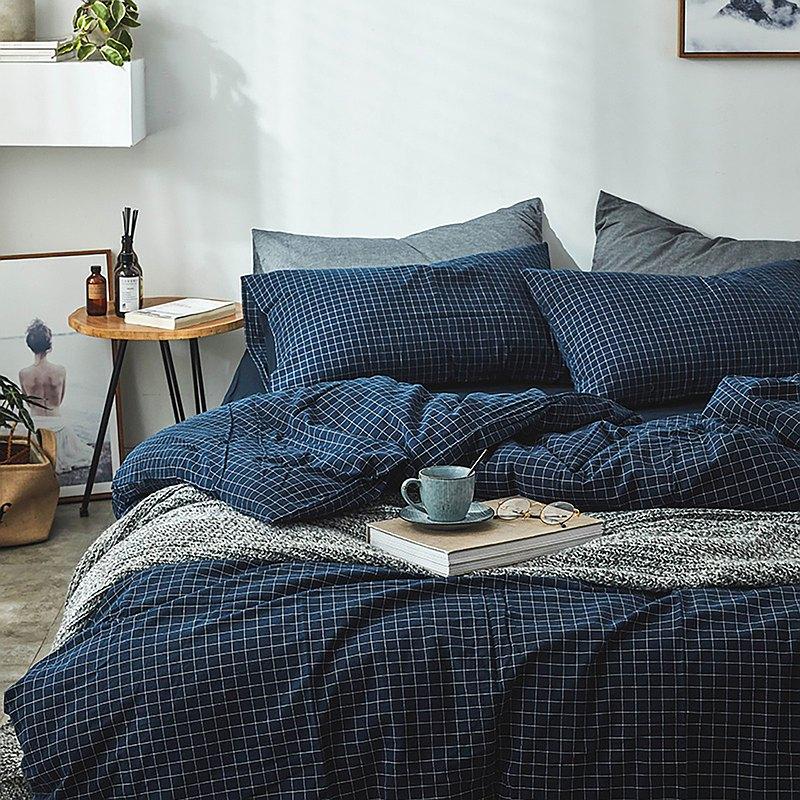 格子藍 水洗棉 標準雙人四件組床包(台灣尺寸)