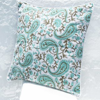 Handmade woodblock printed hug pillowcase cotton pillowcase handmade printed hug pillowcase - Moroccan blue green flowers