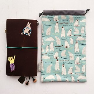 hairmo pink bear handbag pocket - blue (TN / hobo / notepad / log)