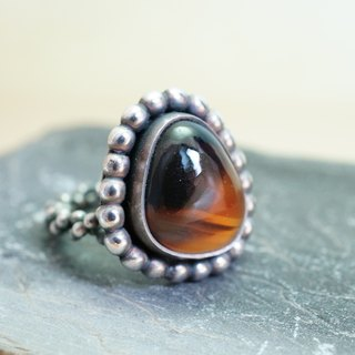 【janvierMade】Montana Agate Sterling Silver Ring / Montana Agate from Madagascar and 925 Sterling Silver