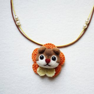 Petwoolfelt - Needle-felted squirrel 2-ways accessories (necklace + brooch)