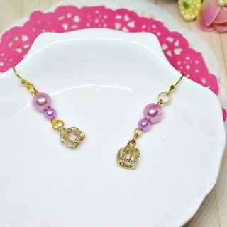 * _ * Purple alloy crown earrings hook ➪ Limited X1