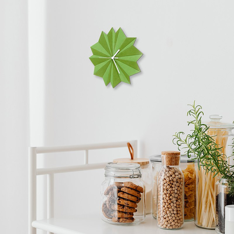 Origami Green - unique wooden wall clock