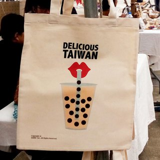 Taiwan pearl milk tea canvas bag tote bag A3 tote bag green bag beverage bag handbag