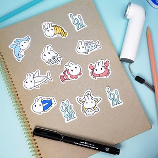Fish rice fried rice cake Rabbit Stickers