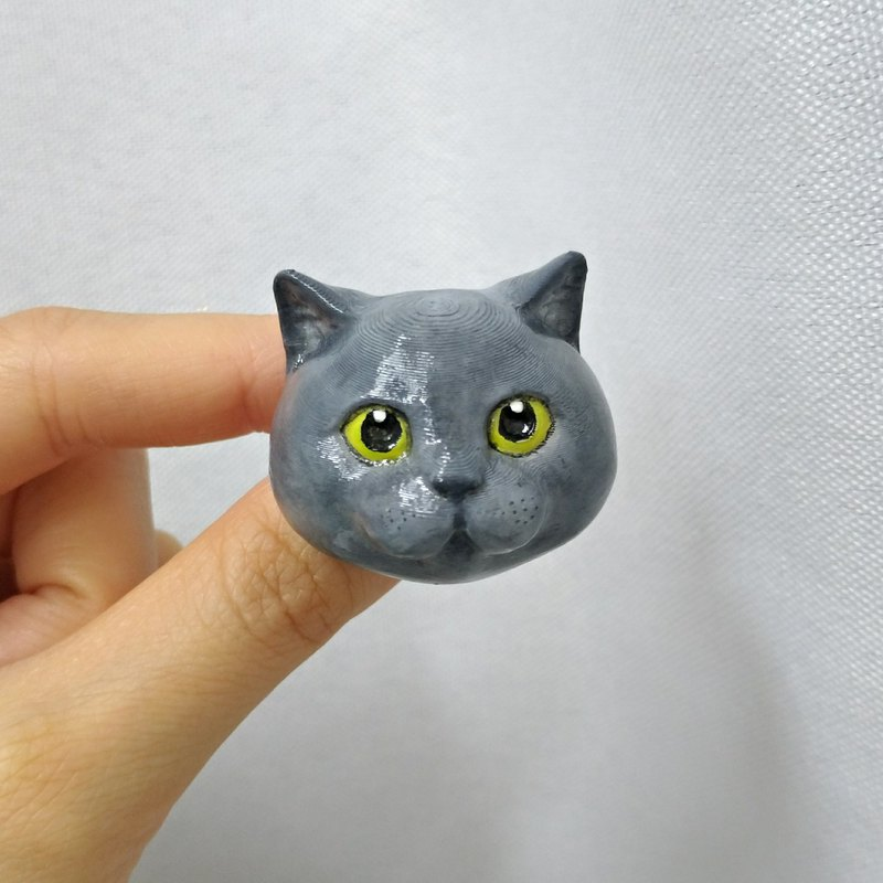 3D Print ~ Hand-Painted British Shorthair Cats Brooch