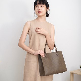Leather Tote Bag (Taupe)