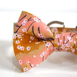 Mustard Cherry Blossom SAKURA Bow Tie Dog Collar - mustard, pale pink【Small】