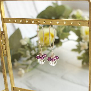 Swarovski crystal Helix Bead & Amethyst Xilion Bead Earrings