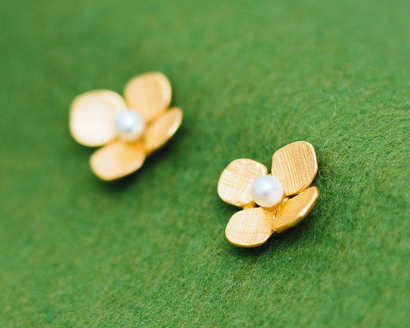 繡球花-耳環-珍珠-金-花-防過敏-包郵