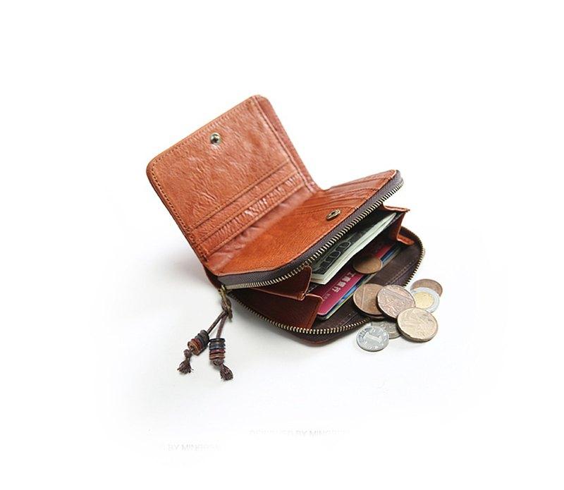 短款錢包 男女適用 真皮折疊錢包