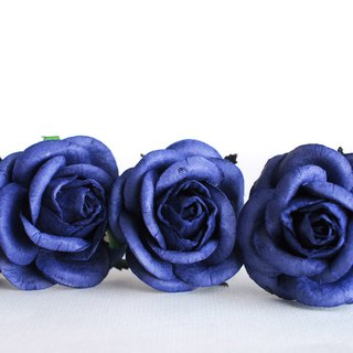 Paper Flower, 20 pieces mini rose size L size 4cm., passion blue color.
