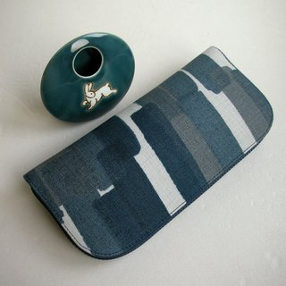 "Ito Sumi ""Ink Blue Brush"" Linen-Long Clip / Wallet / Coin Purse / Gift"