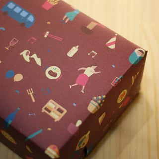[Lonely planet] wrapping paper - wine red: party fight patchwork - double-sided A2 - 10 into +18 small mouth stickers
