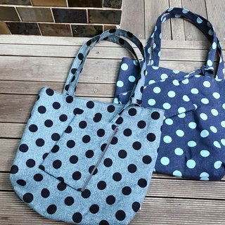 Mother / dark blue wave points / shoulder bag / handbag / wallet / cell phone pocket