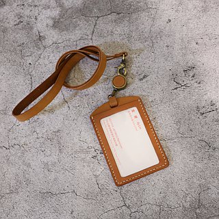 Small orange peel vegetable cowhide neckband telescopic document set / telescopic identification card / telescopic leisure card holder
