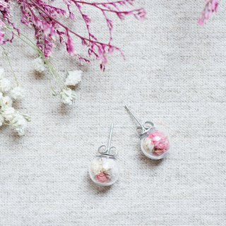 Flower Viewing / Stainless Steel / Glass Dome Earrings