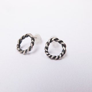 Black and silver two-tone woven sterling silver earrings