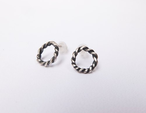 Black and silver color woven sterling silver earrings