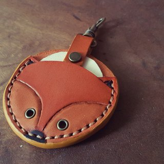 Fox gogoro key vintage yellow pure leather leather cover back lettering