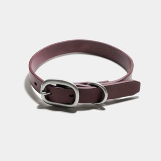 LUCE vegetable tanned leather/pure copper hardware pet collar - Red