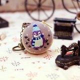 刺繡 ♥企鵝寶寶♥ 馬卡龍零錢包 吊飾 鑰匙圈 手作 婚禮小物 耳機收納