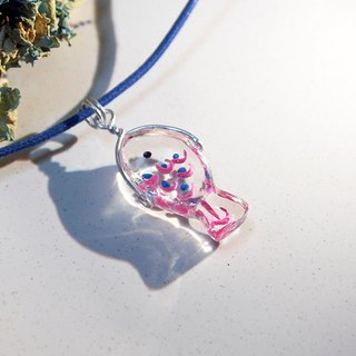 Fish swim _ transparent resin _ necklace _ lovely route _ fish swimming in the chest _ blue