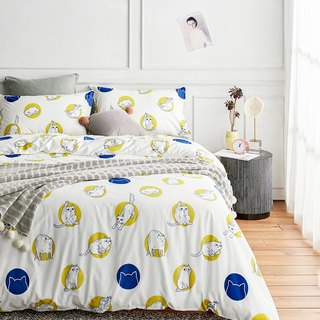 Circle 喵 pillowcase + quilt cover two-piece single double original hand-painted cat 40 cotton bed package optional
