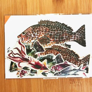 Edible fish sticker 9 into