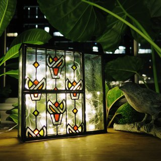 Taiwan Retro Window Grille - Torch Manual Glass Box / Vintage Table Lamp