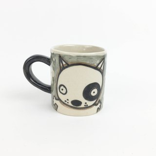 Nice Little Clay Mug _ Cute Dog Black Wheel 0133-02