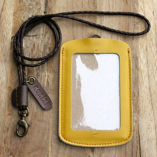 ID case/ Pass case/ Card case - ID 1 -- Yellow + Dark Brown Lanyard(Cow Leather)
