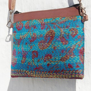 Sew a Valentine's Day gift limit yarn Li Bu side backpack / messenger bag embroidery / embroidery shoulder bag / hand-stitched saris Line Cosmetic / yarn Li Bu stitching leather backpack - Blue Sky Forest Flower + national totem (in)