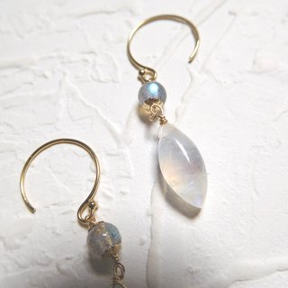 Pack 14K gold texture lengthened stone earrings - elegant halo