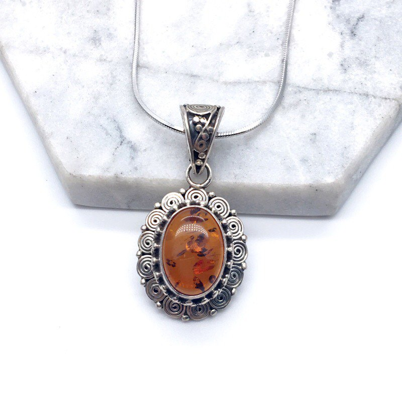 Amber 925 sterling silver lace necklace handmade mosaic in Nepal