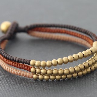 Earth Tone Brass Woven Bracelets Beaded Cuff Strand Brown