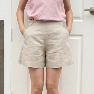 Zen Garden #2 / Linen High Waisted Shorts Natural Color