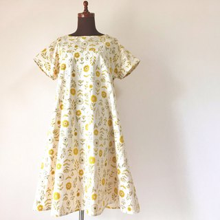 Flower pattern flare one piece cotton linen short sleeve yellow